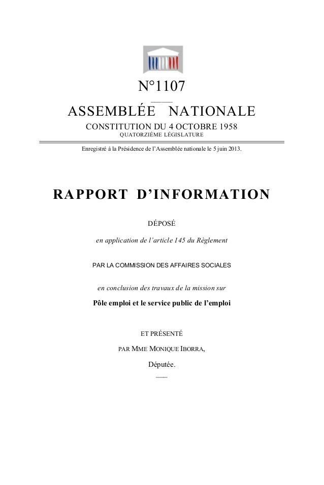 Rapport d'information déposé par la Commission des affaires sociales en conclusion des travaux de la mission sur Pôle Emploi et le service public de Pôle Emploi