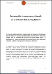 Service public et gouvernance régionale de la formation tout au long de la vie