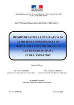 Mission relative à l'évaluation de la politique ministérielle de formation et de certification aux métiers du sport et de l'animation