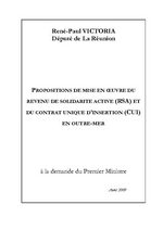 Propositions de mise en oeuvre du revenu de solidarité active (RSA) et contrat unique d'insertion (CUI) en Outre-Mer