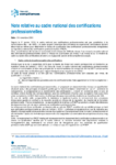 Note relative au cadre national des certifications professionnelles