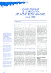 Usages sociaux de la validation des acquis professionnels - loi de 1992