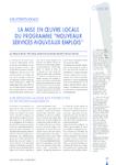 """Collectivités locales : la mise en oeuvre locale du programme """"Nouveaux services-Nouveaux emplois"""""""