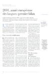 2001, année européenne des langues premier bilan - Béhague E - application/pdf