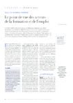Le point de vue des acteurs de la formation et de l'emploi - - application/pdf