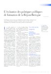L'évaluation des politiques publiques de formation de la Région Bretagne