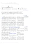 Les contributions des entreprises au coeur de la réforme