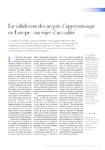 La validation des acquis d'apprentissage en Europe