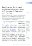 Développement des territoires et professionnalisation des acteurs de la formation, de l'orientation et de l'insertion